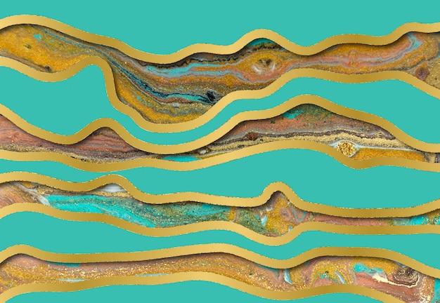 Motivo a increspatura agata blu e oro. sfondo di marmo con strati d'onda.