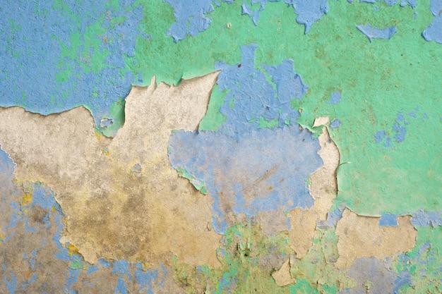 Vecchio fondo sporco blu e verde di struttura della parete Foto Premium