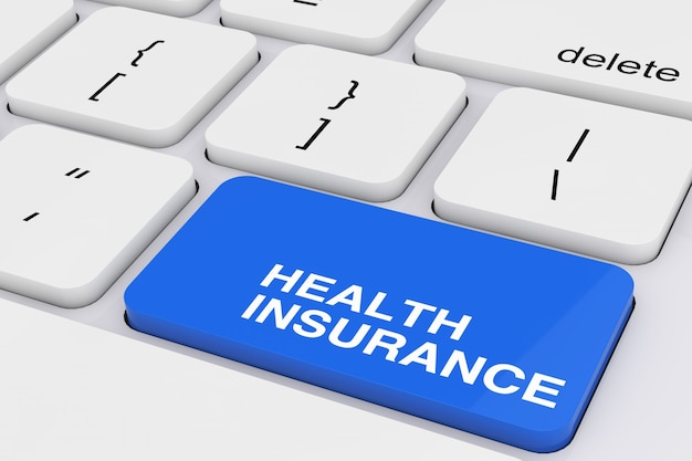 Chiave blu di assicurazione sanitaria sul primo piano estremo della tastiera bianca del pc. rendering 3d
