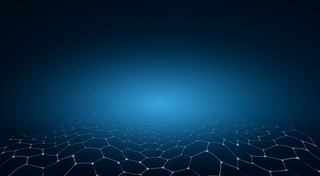 Sfondo tecnologia esagono blu