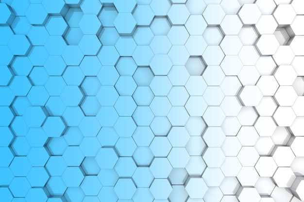 Sfondo blu esagonale. sfondo 3d