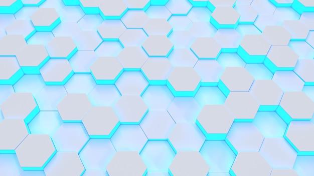 Modello medico incandescente esagonale blu
