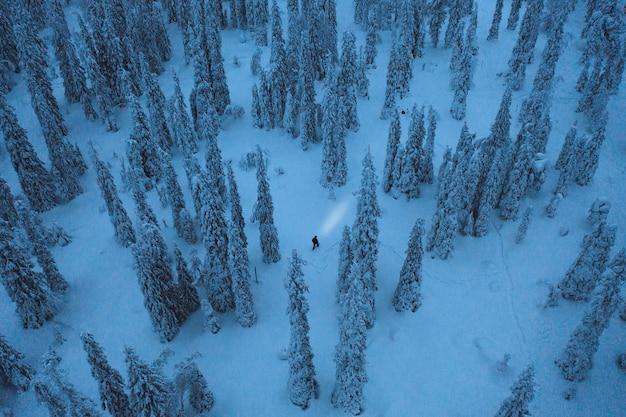 L'ora blu al parco nazionale di riisitunturi, in finlandia, ripresa dal drone