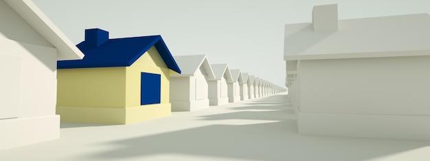 Casa blu tra case bianche. concetto di caccia e ricerca. rendering 3d, immagine panoramica