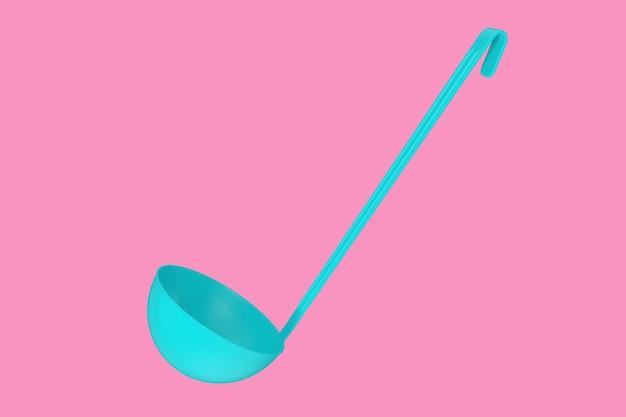 Mestolo da cucina blu mock up in stile bicolore su sfondo rosa. rendering 3d