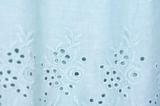 Sfondo di tessuto di pizzo blu, tessuto di pizzo bianco