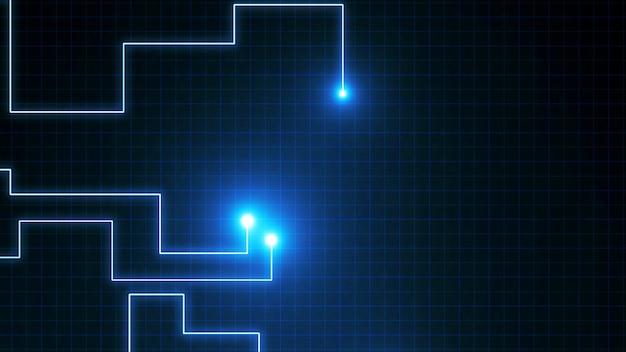 Linee blu disegnate da punti luminosi. può rappresentare connessioni elettroniche, comunicazione, tecnologia futuristica.