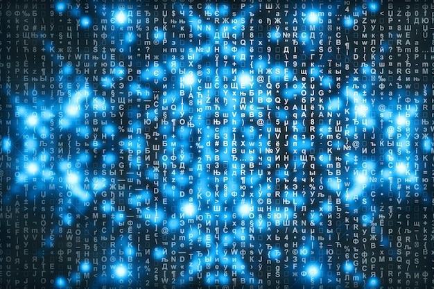 Matrice blu sfondo digitale. concetto astratto di cyberspazio. i personaggi cadono. matrice dal flusso di simboli. progettazione di realtà virtuale. pirateria informatica complessa. ciano scintille digitali.