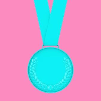 Medaglia blu con corona di alloro in stile bicolore su sfondo rosa. rendering 3d