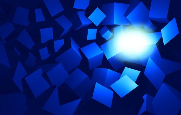 Sfondo di rendering di cubi 3d incasinati blu