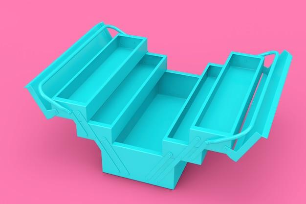 Blue metal classic toolbox in stile bicolore su sfondo rosa. rendering 3d