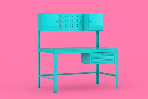 Banco da lavoro in metallo blu in stile bicolore su sfondo rosa. rendering 3d