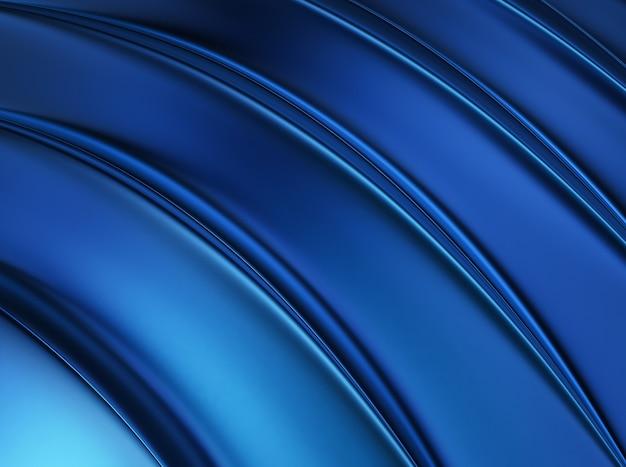 Sfondo 3d blu metallizzato con cinque linee morbide lucide.