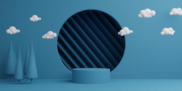 Forma geometrica del podio del cilindro del fondo astratto minimo blu, fase per il prodotto. rendering 3d