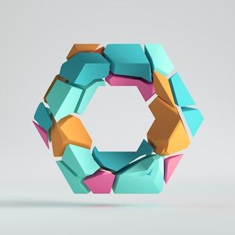 Elementi rosa menta blu oggetto colorato geometrico diviso isolato su sfondo bianco