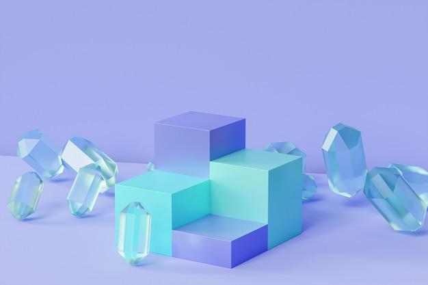 Podio blu menta con cristalli di vetro su superficie pastello