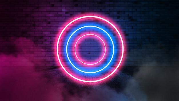 Cerchi al neon blu sul muro di mattoni sul fumo. banner pubblicitario luminoso con copia spazio.