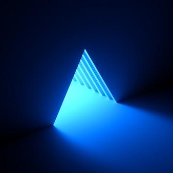 Luce al neon blu che esce dal foro del triangolo nel muro