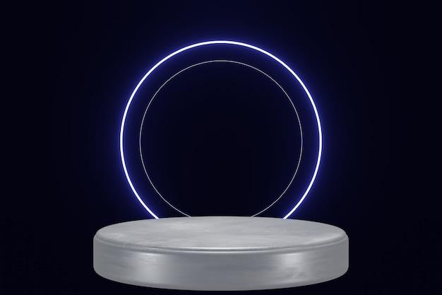Fase di sfondo del prodotto di luce al neon blu o piedistallo del podio su sfondo nero isolato 3d