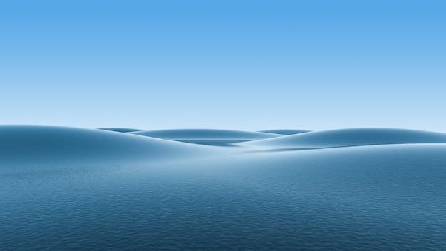 Oceano blu e onde e cielo blu sfumato.