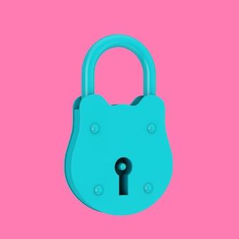 Vecchio grande lucchetto blu in stile bicolore su sfondo rosa. rendering 3d