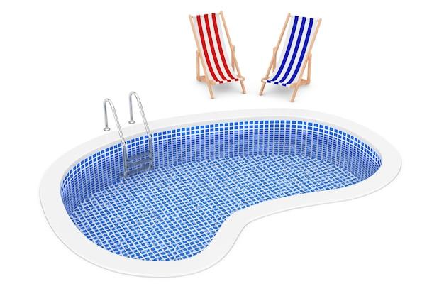 Piscina all'aperto blu dell'acqua con la scaletta e le sedie di spiaggia su un fondo bianco. rendering 3d.