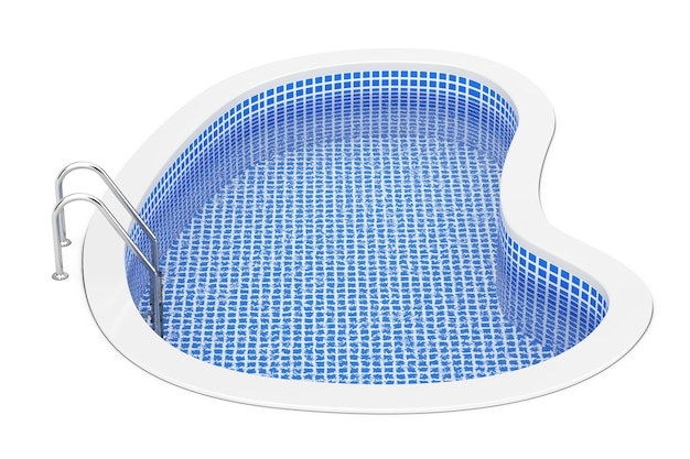 Piscina all'aperto blu dell'acqua con la scaletta su un fondo bianco. rendering 3d.