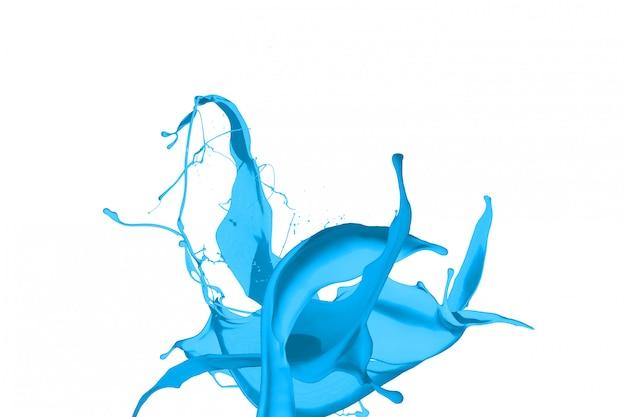 Schizzi di vernice blu isolati su sfondo bianco