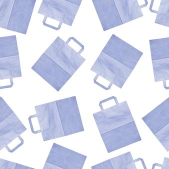 Sacchetti della spesa di carta blu su uno sfondo bianco, trama senza soluzione di continuità, sfondo senza soluzione di continuità