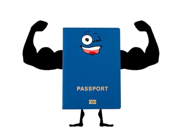 Passaporto blu con le mani disegnate a mano di un bodybuilder
