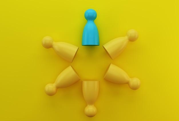 Le persone blu modellano in modo straordinario fuori dalla folla. risorse umane, gestione dei talenti, addetto alle assunzioni, leader del team aziendale di successo.