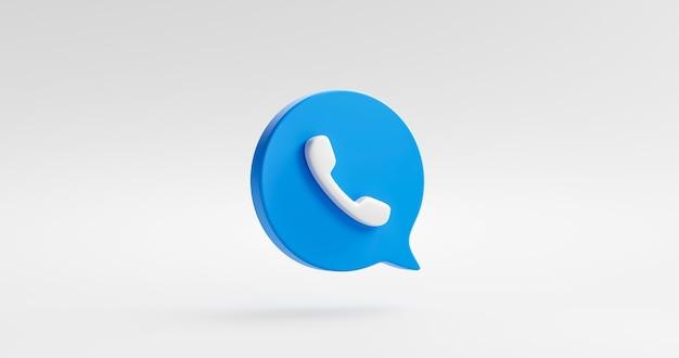 Icona del telefono blu o simbolo mobile del sito web di contatto isolato su sfondo bianco del telefono di comunicazione classico con il concetto di hotline di supporto del servizio. rappresentazione 3d.