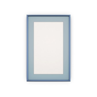Cornici e immagini blu isolate su bianco.