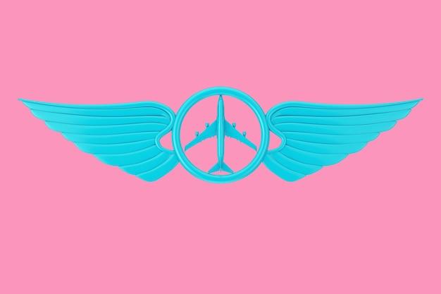 Emblema dell'ala pilota blu, distintivo o simbolo del logo in stile bicolore su sfondo rosa. rendering 3d