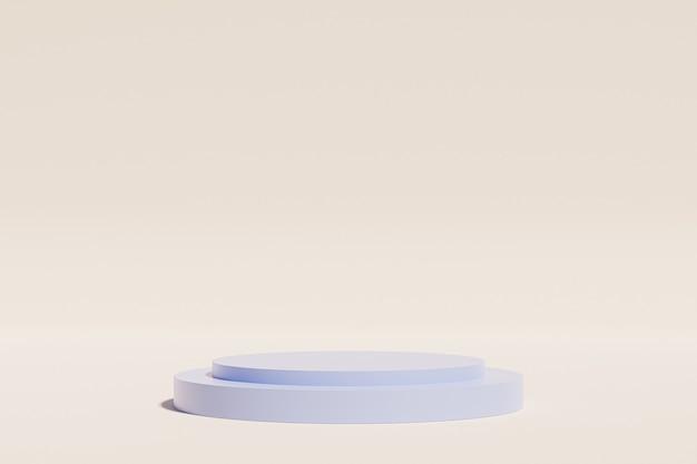 Podio blu per la pubblicità sulla superficie beige