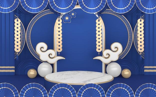 Podio blu, tono giapponese di colore geometrico e decorativo minimo del podio. rendering 3d