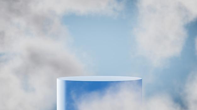 Podio blu per l'esposizione del prodotto con lo sfondo del cielo blu