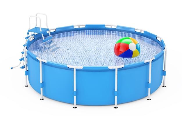 Piscina rotonda esterna portatile blu dell'acqua e pallone da spiaggia su una rappresentazione bianca del fondo 3d