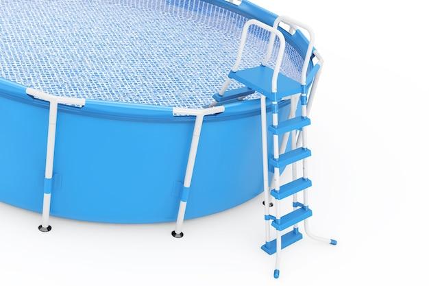 Piscina rotonda all'aperto portatile blu dell'acqua con la scaletta su un fondo bianco. rendering 3d.