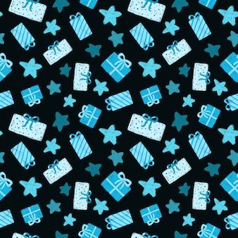 Regali blu e stelle su sfondo nero modello senza cuciture confezione regalo disegnata a mano stampa ripetuta