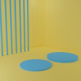 Stand prodotto blu nella stanza gialla scena da studio per il design minimale del prodottorendering 3d