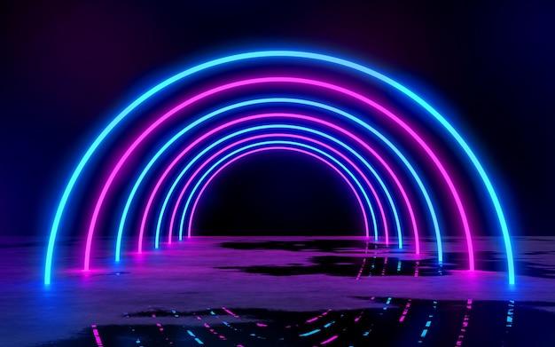 Luci blu e viola del tubo al neon nella stanza buia vuota 3d rendering illustrazione bachground