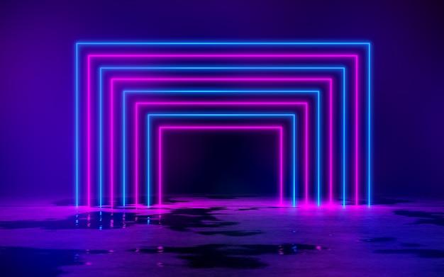 Luci blu e viola del tubo al neon nella stanza buia vuota 3d rendering illustrazione sfondo