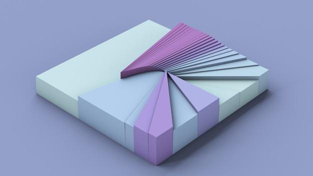Quadrato blu e viola con superficie rotta. illustrazione astratta, rendering 3d.