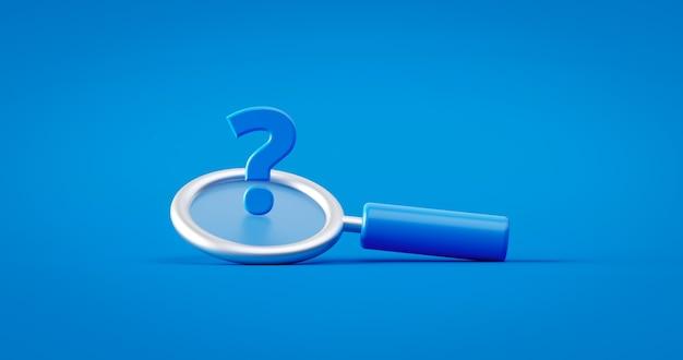 Punto interrogativo blu e concetto di simbolo della lente d'ingrandimento di ricerca su fondo faq di ricerca con oggetto lente di ingrandimento di ricerca o scoperta. rappresentazione 3d.
