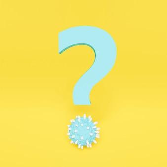 Punto interrogativo blu con punto a forma di virus. sfondo giallo. rendering 3d