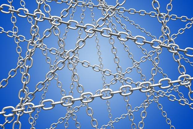 Priorità bassa di degradazione radiale blu con catena. rendering 3d