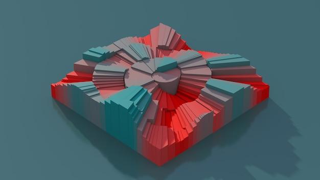 Quadrato blu e rosso con superficie rotta. illustrazione astratta, rendering 3d.