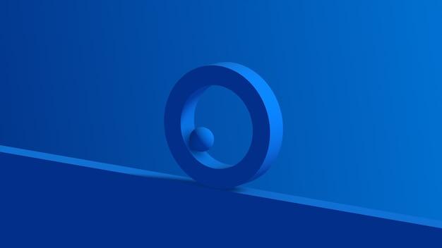 Anello blu e sfera 3d rendono