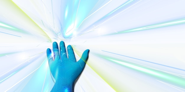 Mano robot blu con la luce della tecnologia concetti di presentazione nell'illustrazione 3d dell'era digitale